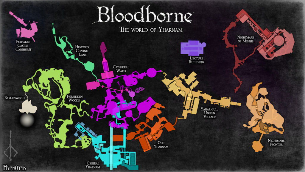 Yharnam map courtesy of Hypnotyks on Reddit.
